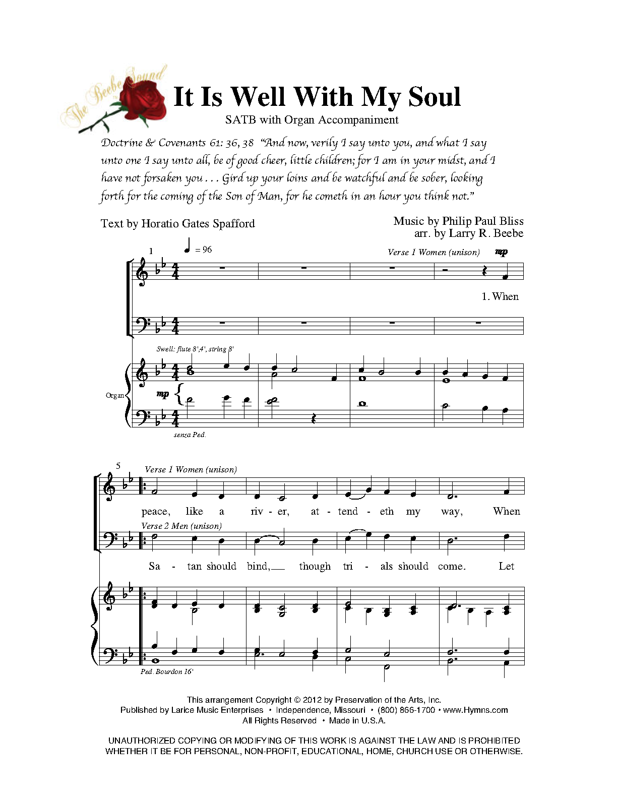 It Is Well with My Soul/SATB