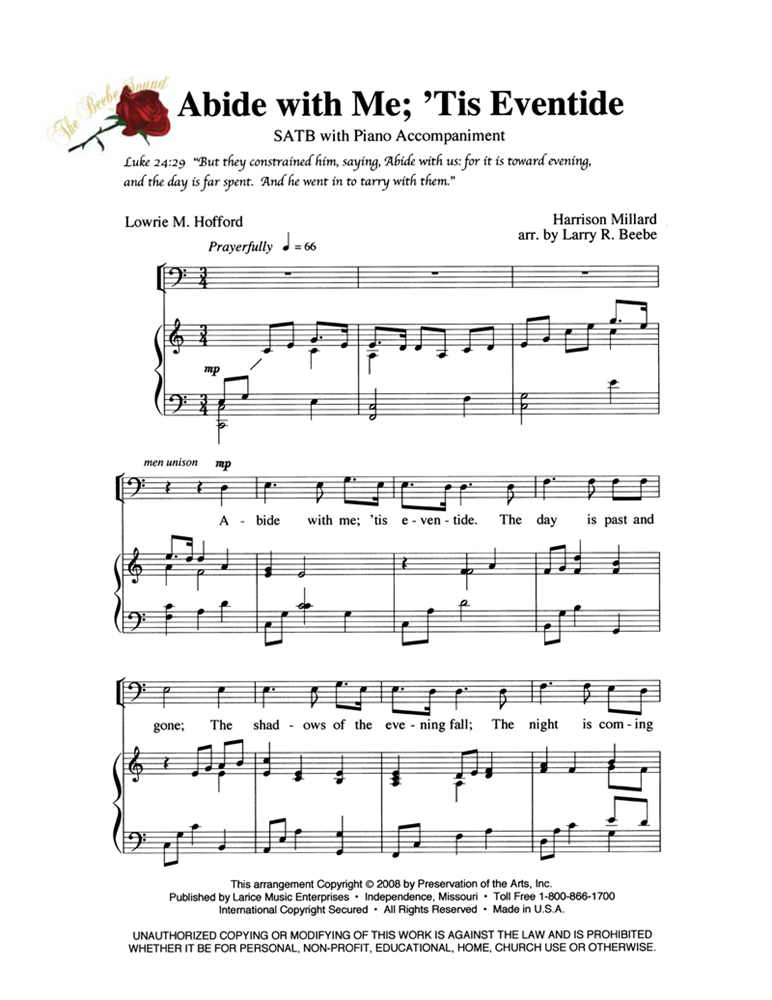 ABIDE WITH ME TIS EVENTIDE ~ SATB w/piano acc #LM1100