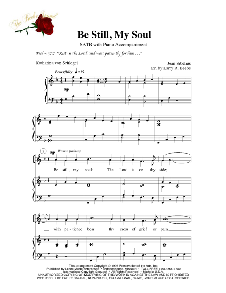Be Still My Soul Satb Wpiano Acc Lm1053