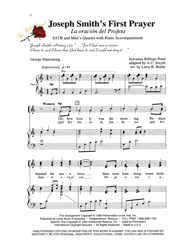 JOSEPH SMITH'S FIRST PRAYER ~ SATB w/piano acc #LM1003