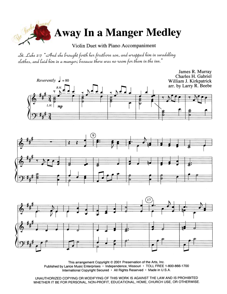 AWAY IN A MANGER MEDLEY - Violin Duet w/piano acc #LM3045