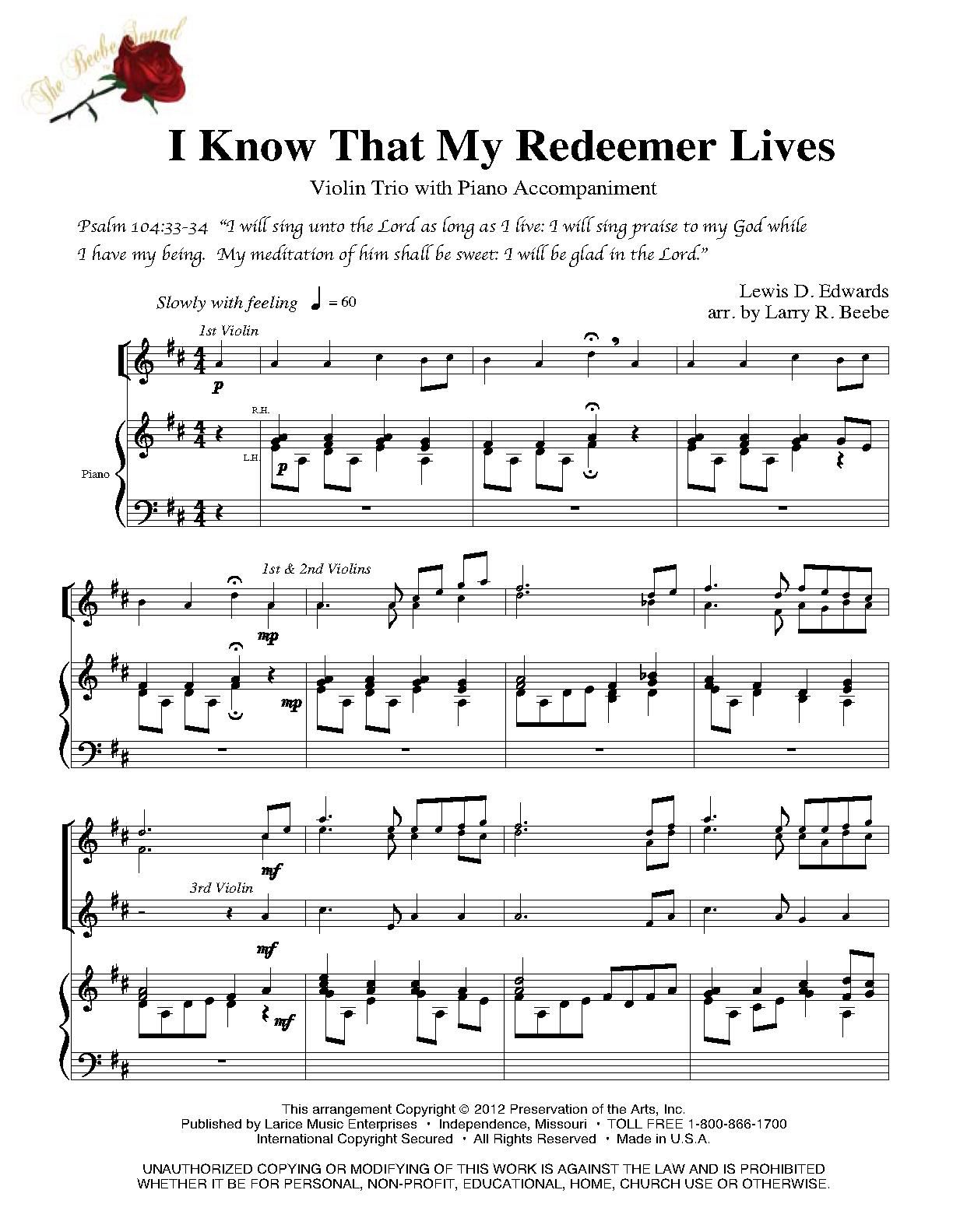 I know my redeemer lives instrumental downloads